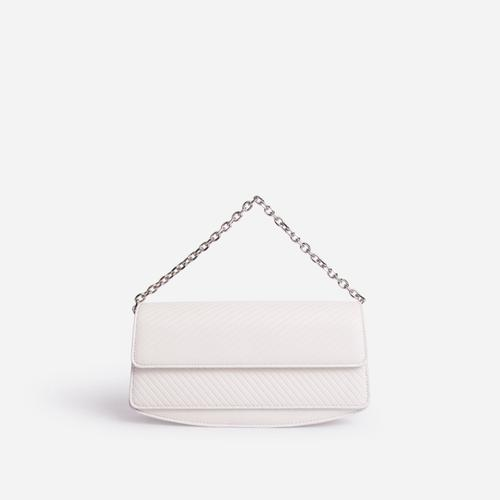 Carbo Rectangular Chain Detail Cross Body Bag In White Faux Leather