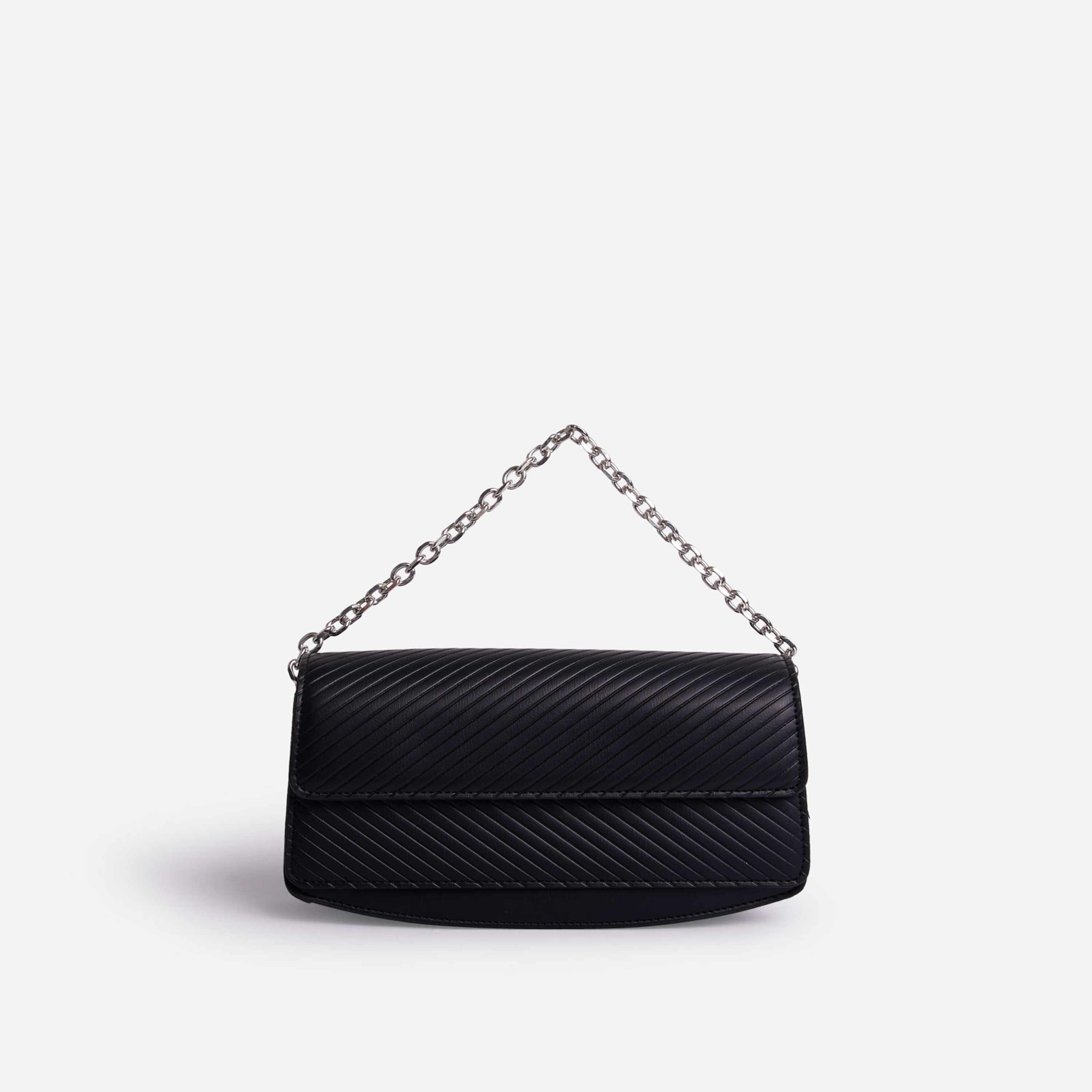 Carbo Rectangular Chain Detail Cross Body Bag In Black Faux Leather