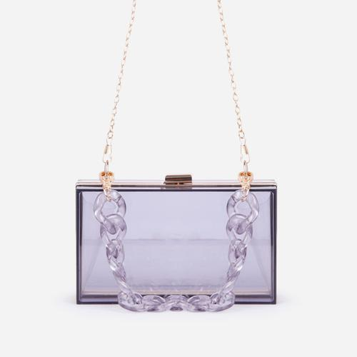Maldive Box Vanity Bag In Smoke Perspex