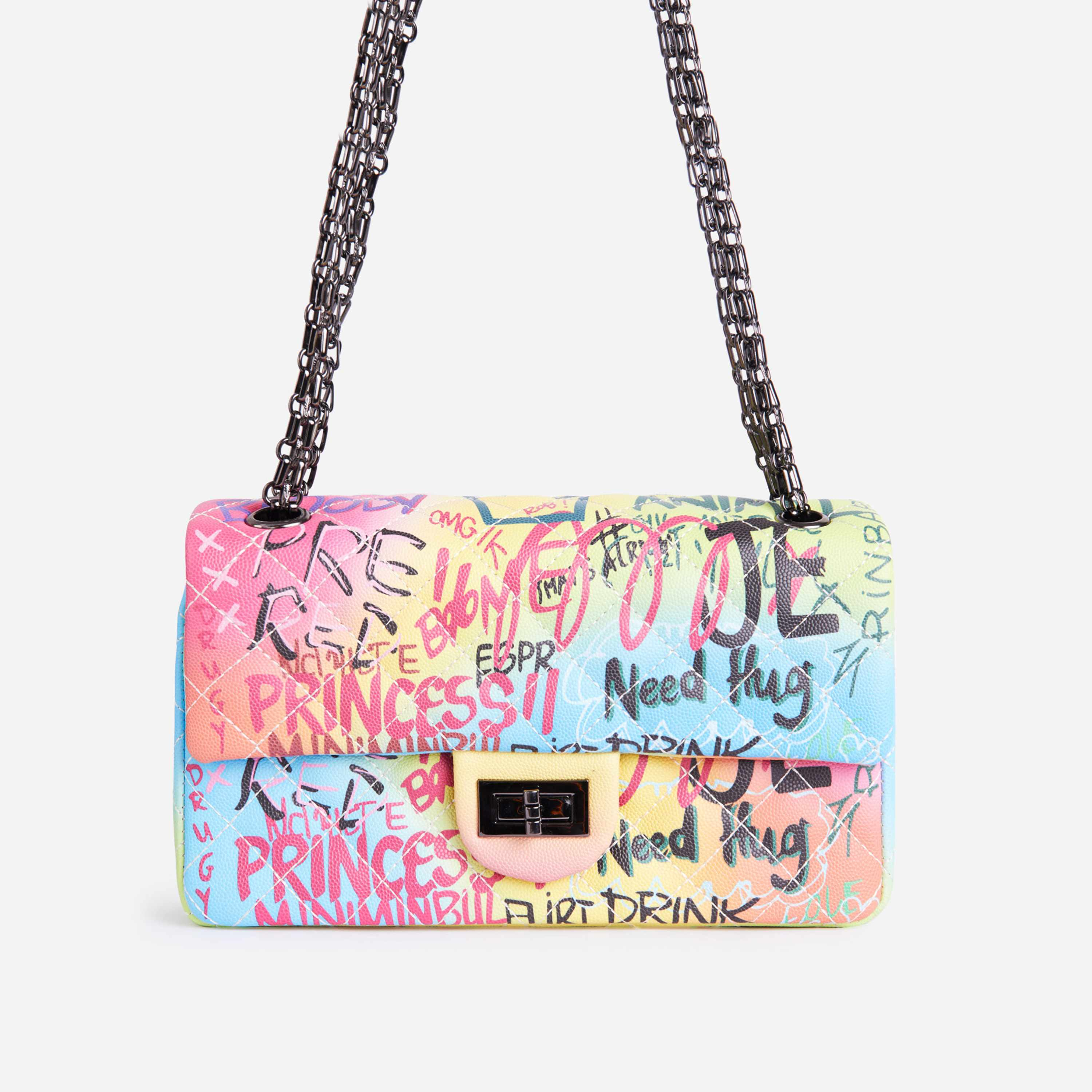 Ava Chain Detail Quilted Cross Body Bag In Multi Graffiti Print Faux Leather
