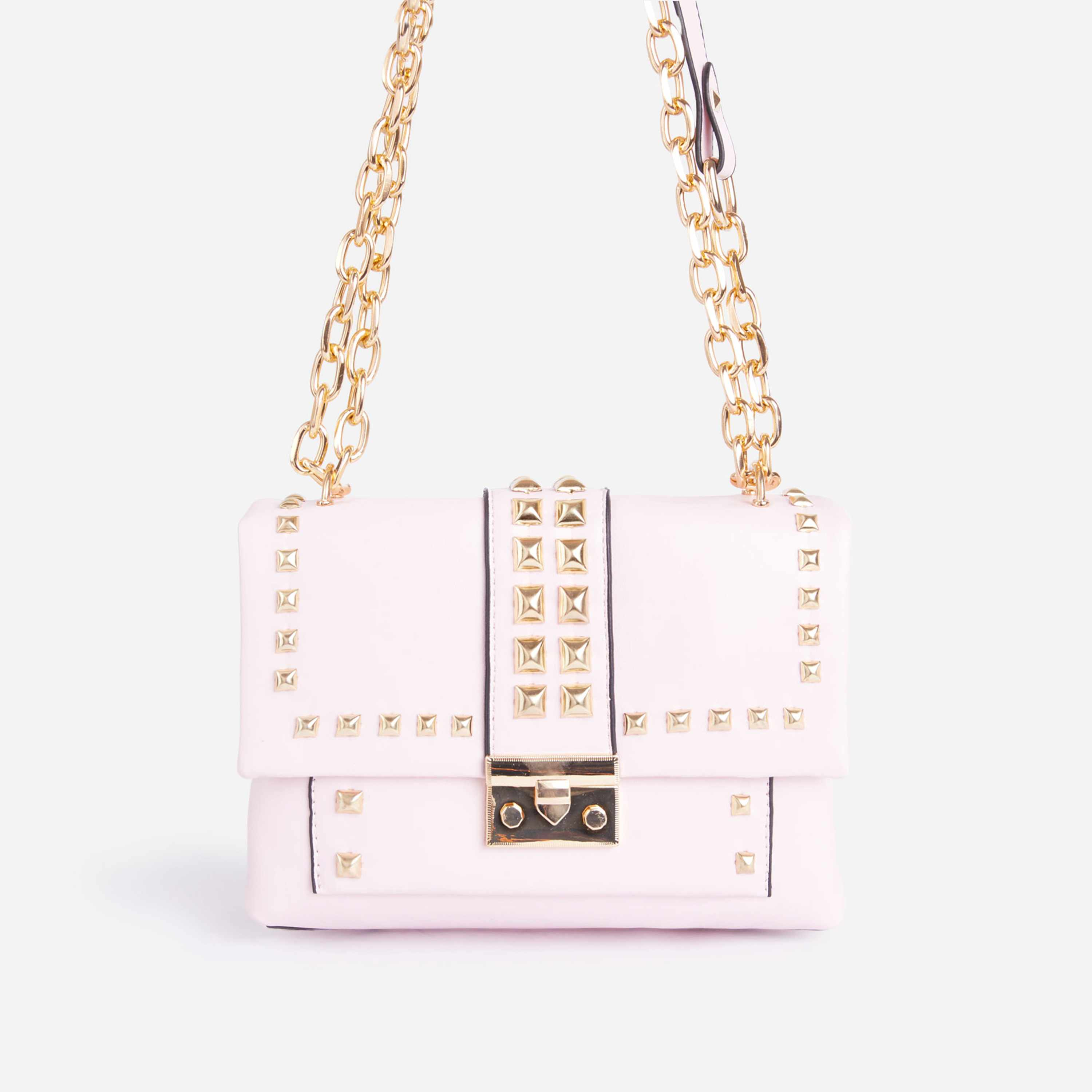 Zoey Studded Detail Mini Cross Body Bag In Pink Faux Leather