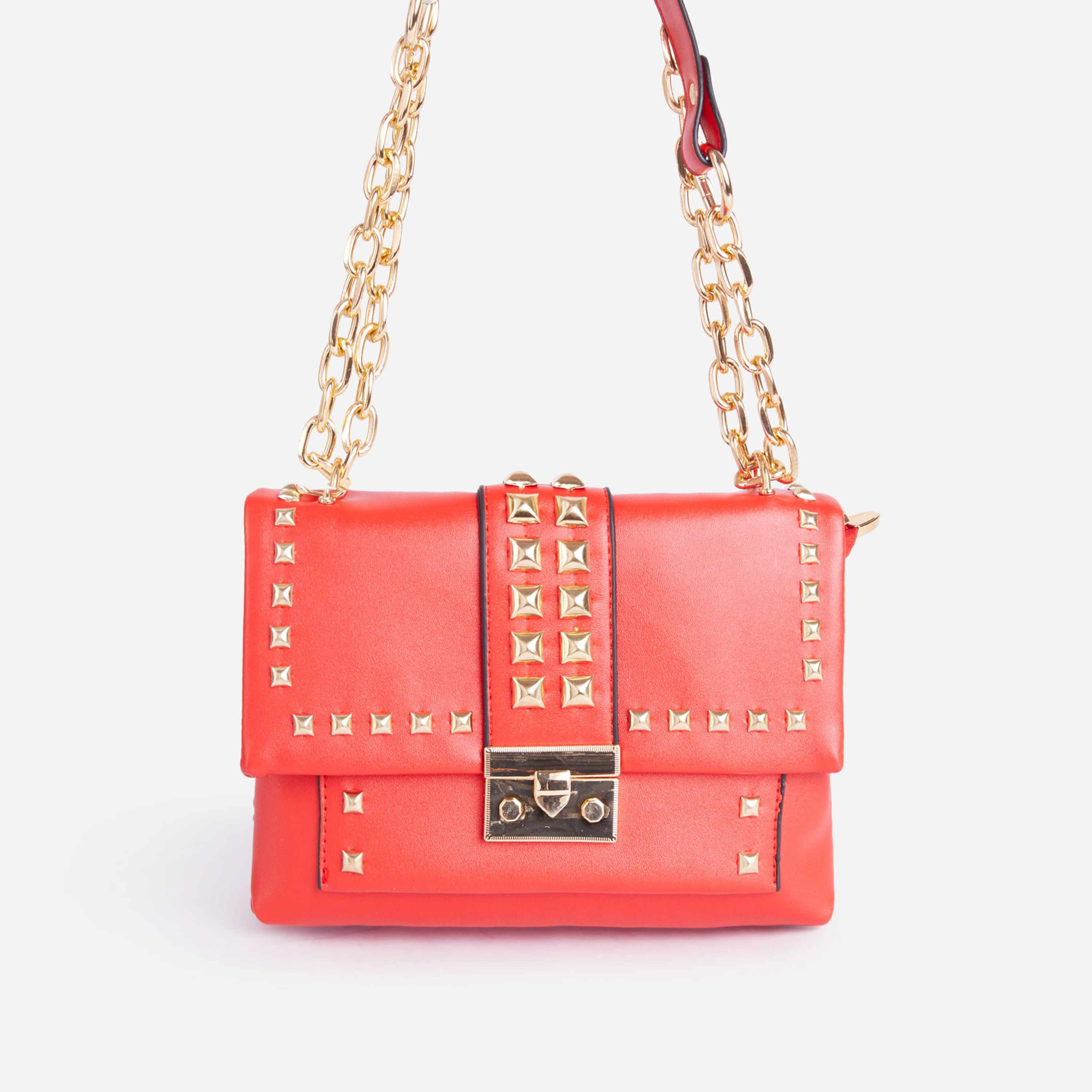 Zoey Studded Detail Mini Cross Body Bag In Red Faux Leather
