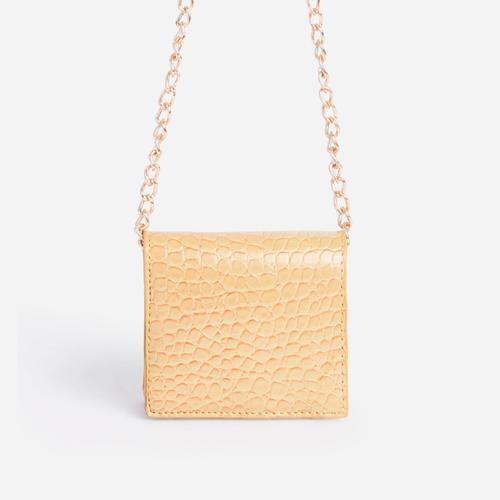 Bobby Mini Chain Cross Body Bag In Yellow Croc Print Faux Leather
