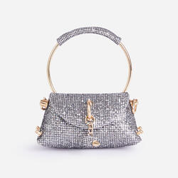 Dance Mini Diamante Grab Bag In Silver