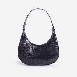 Tilly Curved Baguette Bag In Black Croc Print Faux Leather