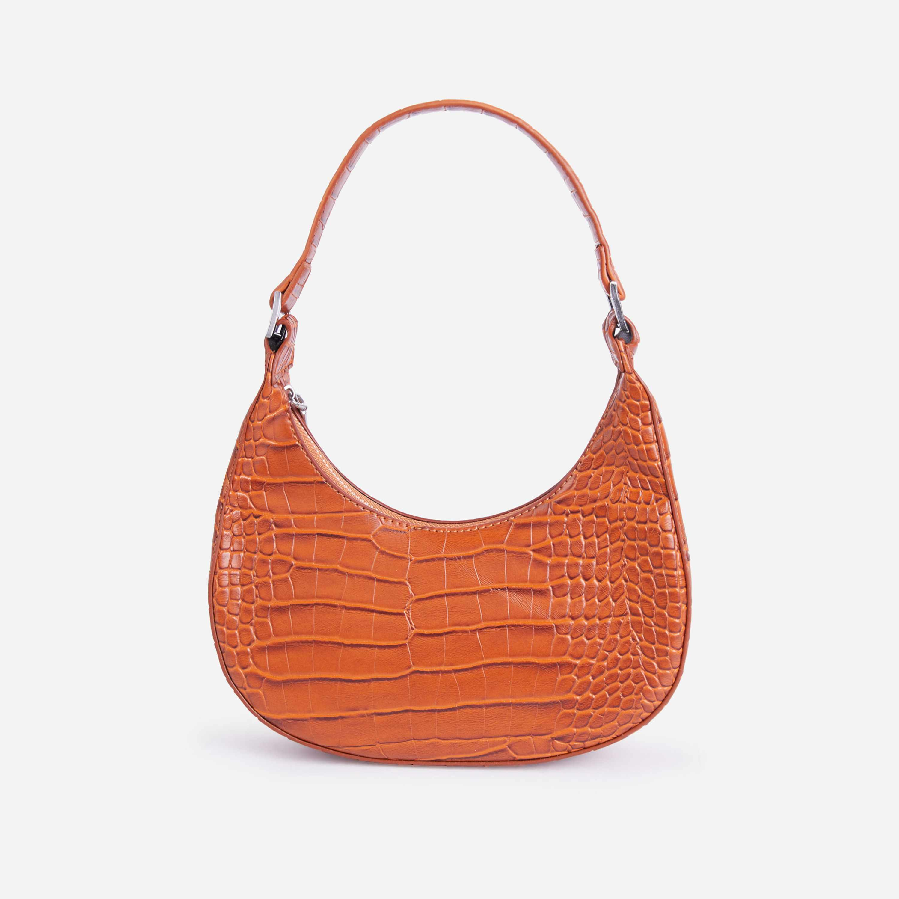 Tilly Curved Baguette Bag In Dark Brown Croc Print Faux Leather