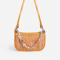 Rudy Chain Detail Woven Shoulder Bag In Tan Faux Leather