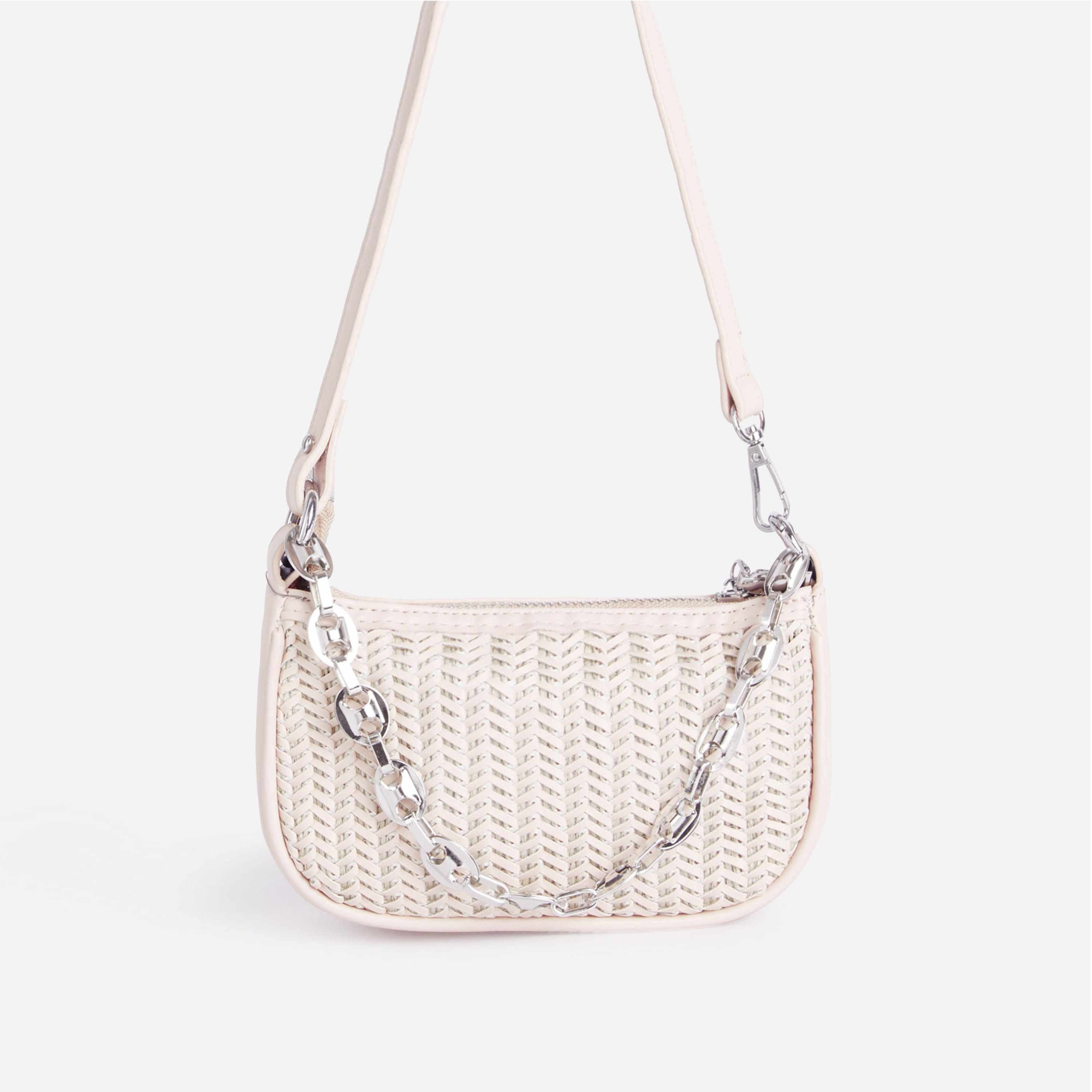 Rudy Chain Detail Woven Shoulder Bag In White Faux Leather