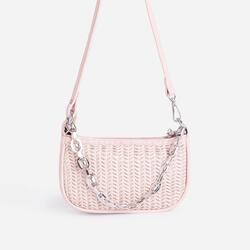 Rudy Chain Detail Woven Shoulder Bag In Pink Faux Leather
