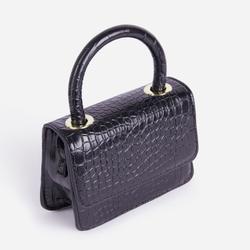 Mona Mini Envelope Cross Body Bag In Black Croc Print Faux Leather