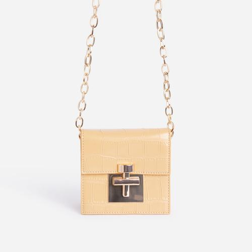 Ellaby Lock Detail Mini Bag In Yellow Croc Print Faux Leather