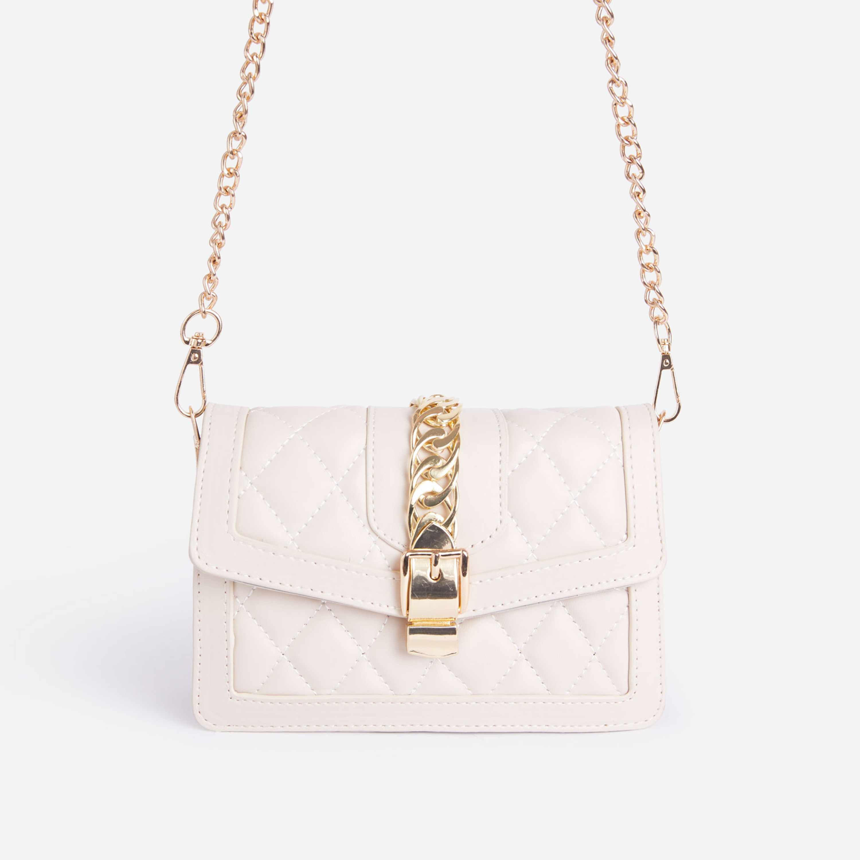 Robyn Chain Detail Quilted Cross Body Bag In White Faux Leather