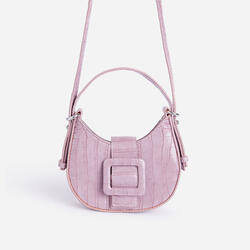 Otto Buckle Detail Shoulder Bag In Lilac Croc Print Faux Leather