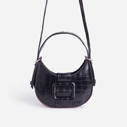 Otto Buckle Detail Shoulder Bag In Black Croc Print Faux Leather