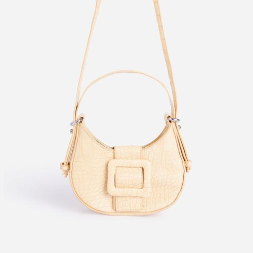 Otto Buckle Detail Shoulder Bag In Yellow Croc Print Faux Leather