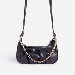 Loki Chain Detail Ruched Cross Body Bag In Black Faux Leather