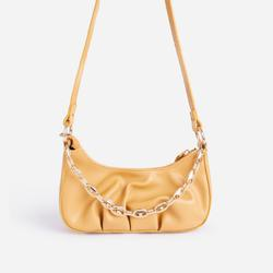 Loki Chain Detail Ruched Cross Body Bag In Mustard Yellow Faux Leather