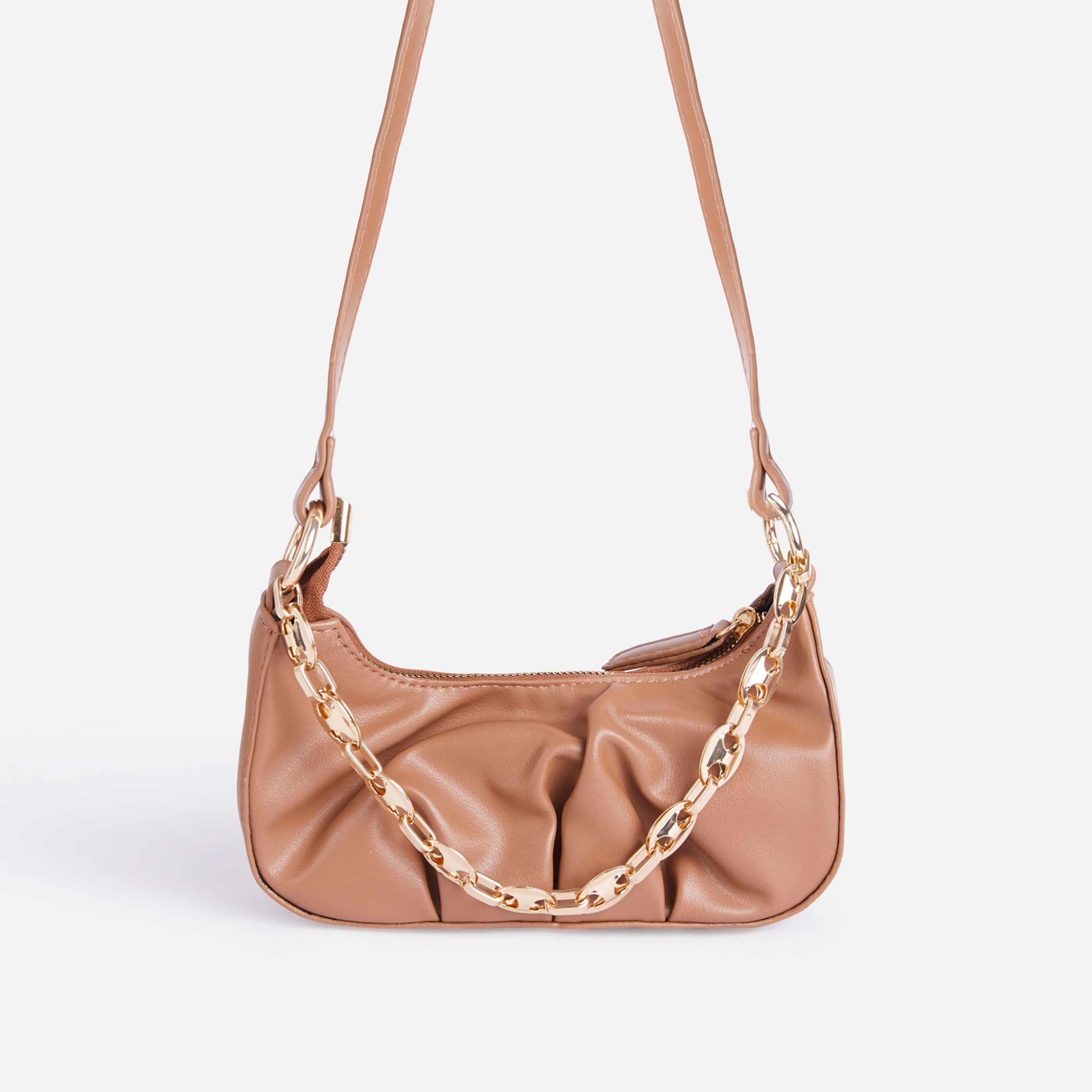Loki Chain Detail Ruched Cross Body Bag In Coral Pink Faux Leather