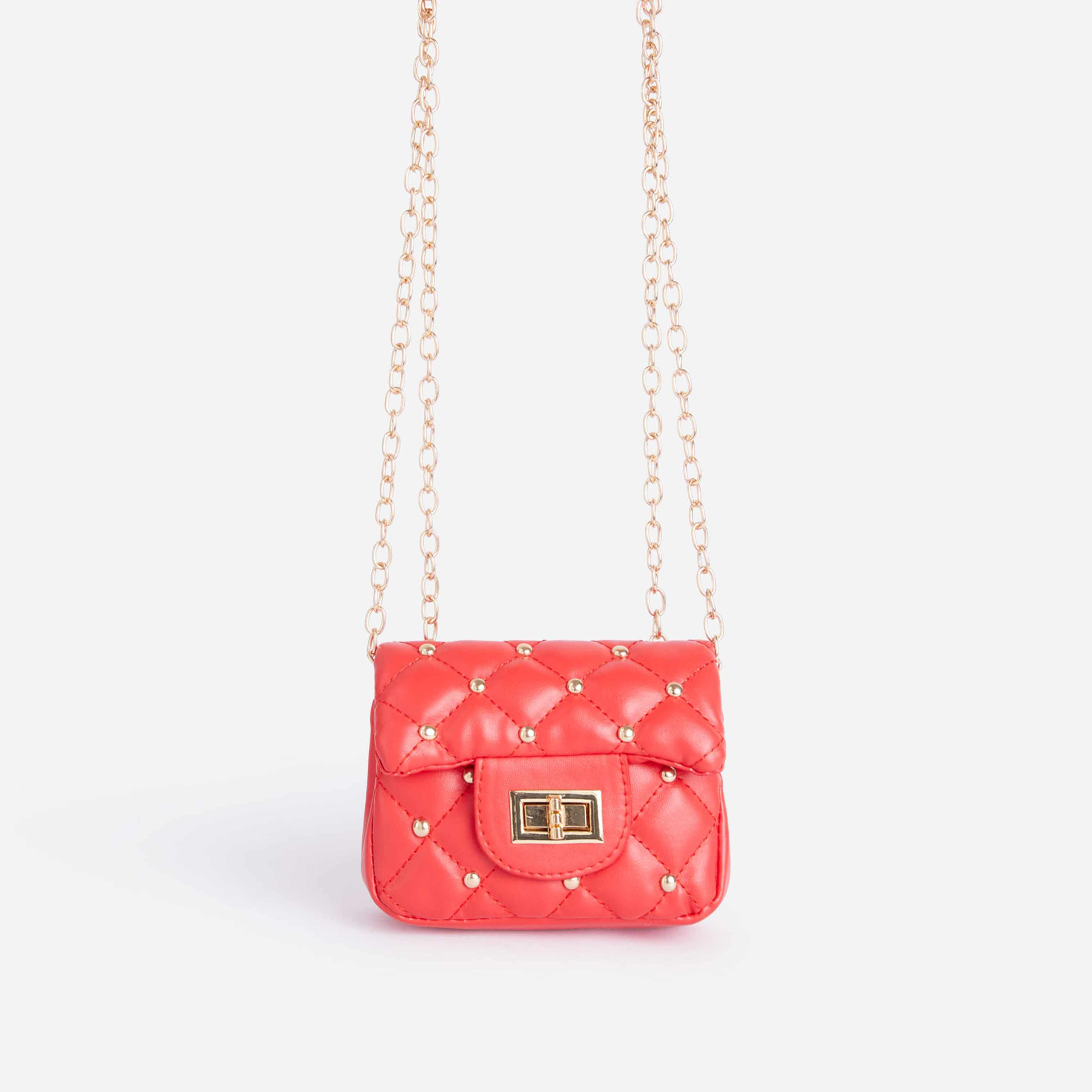 Birdy Studded Detail Quilted Mini Bag In Red Faux Leather