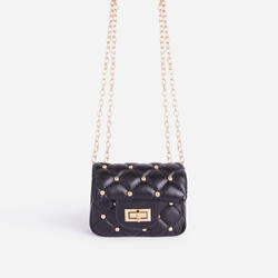 Birdy Studded Detail Quilted Mini Bag In Black Faux Leather