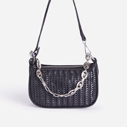 Rudy Chain Detail Woven Shoulder Bag In Black Faux Leather