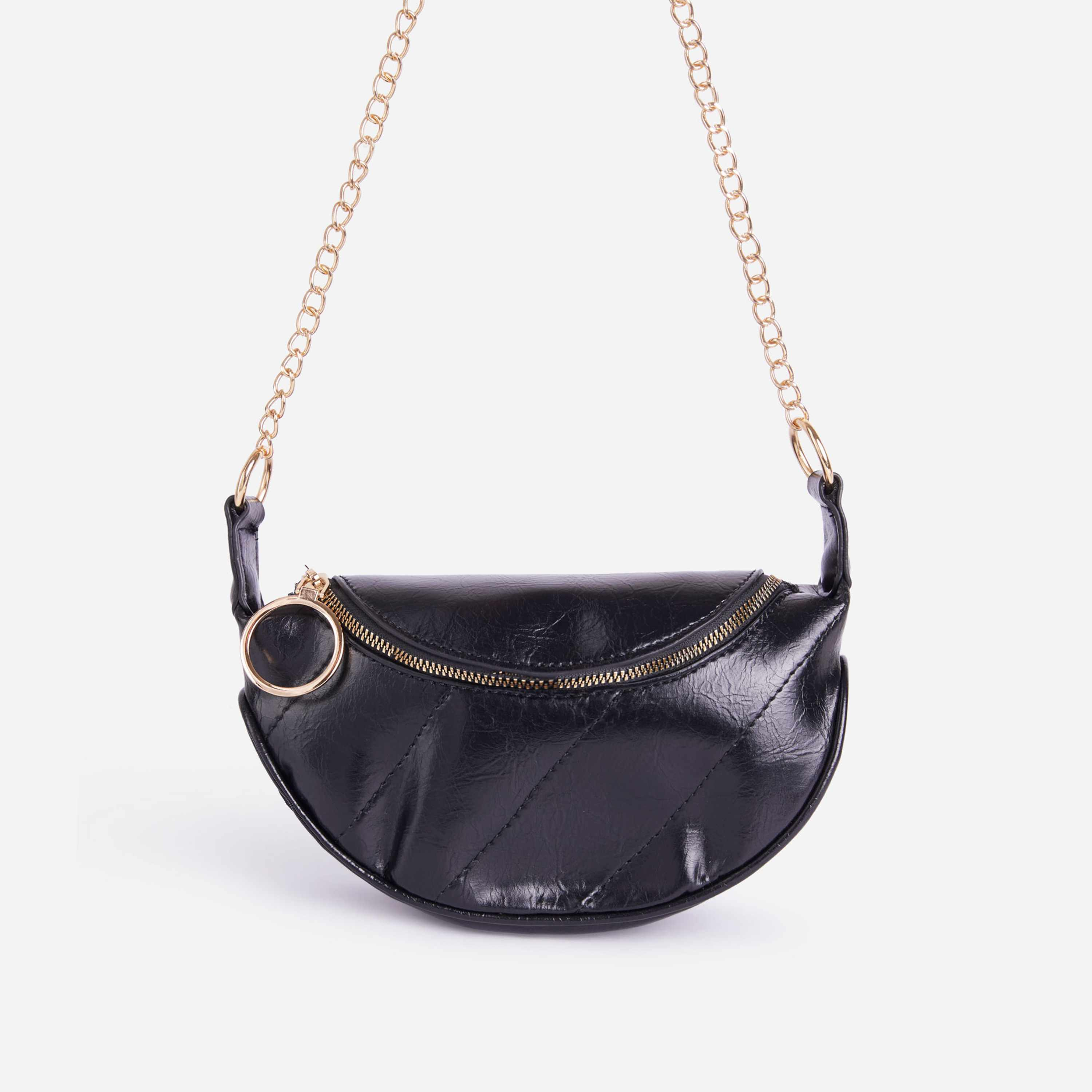 Naomi Chain Detail Cross Body Bum Bag In Black Faux Leather
