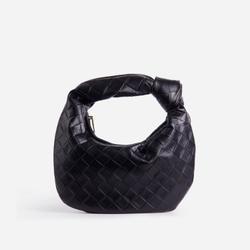 Monty Slouchy Shoulder Bag In Black Faux Leather