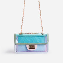 Icon Clear Chain Shoulder Bag In Blue