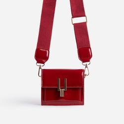 Lemons Square Cross Body Mini Bag In Red Patent