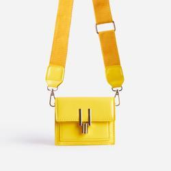 Lemons Square Cross Body Mini Bag In Yellow Patent