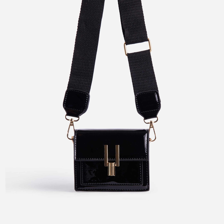 Lemons Square Cross Body Mini Bag In Black Patent