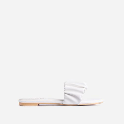 Tender Ruched Flat Slider Sandal In White Faux Leather