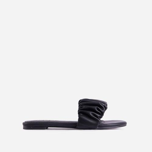 Tender Ruched Flat Slider Sandal In Black Faux Leather