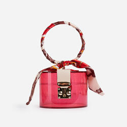 Pixie Ribbon Detail Grab Bag In Pink Perspex