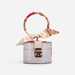 Pixie Ribbon Detail Grab Bag In Clear Perspex