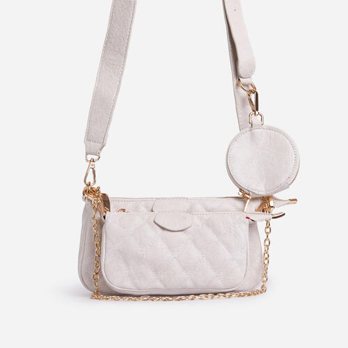Tati Quilted Purse And Chain Detail Cross Body Bag In White Faux Leather