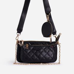 Tati Quilted Purse And Chain Detail Cross Body Bag In Black Faux Leather