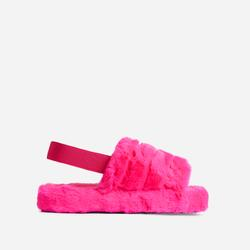 Boo Fluffy Stripe Slipper In Pink Faux Fur