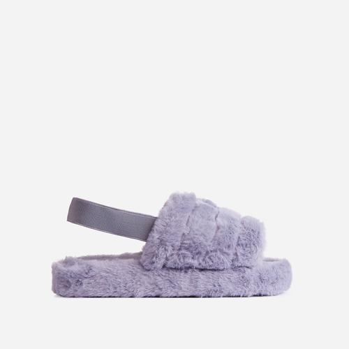 Boo Fluffy Stripe Slipper In Grey Faux Fur