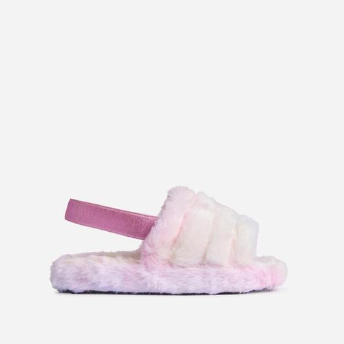 Boo Fluffy Stripe Slipper In Tie Dye Faux Fur