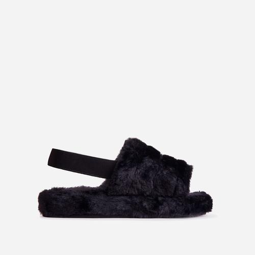 Boo Fluffy Stripe Slipper In Black Faux Fur