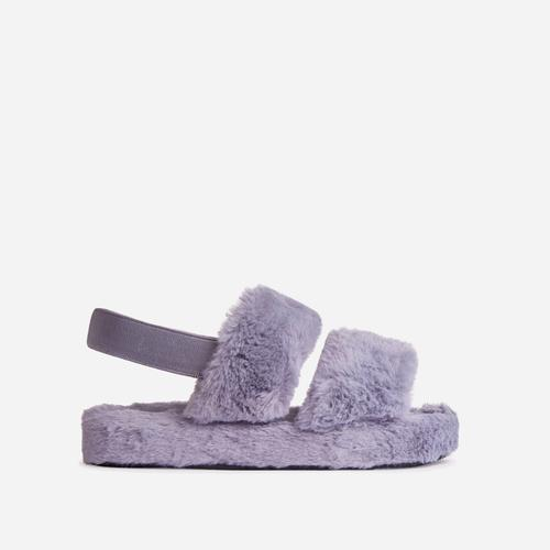 Latte Fluffy Stripe Slipper In Grey Faux Fur