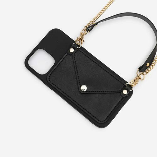 Pocket Detail With Handle Phonecase In Black. iPhone 12 Pro Max