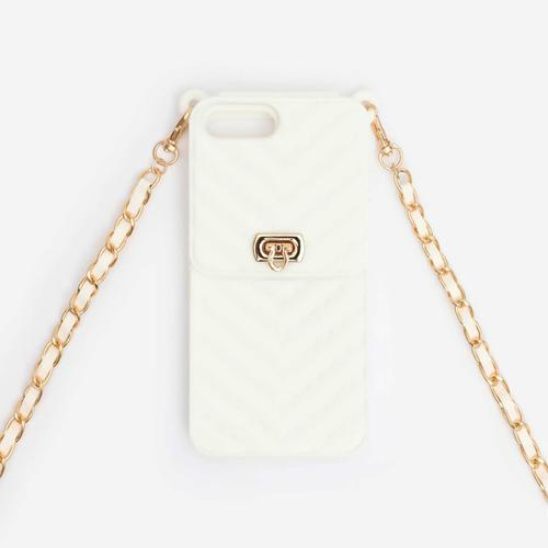 Buckle Detail Quilted Chain Phonecase In White. iPhone 7 Plus and 8 Plus
