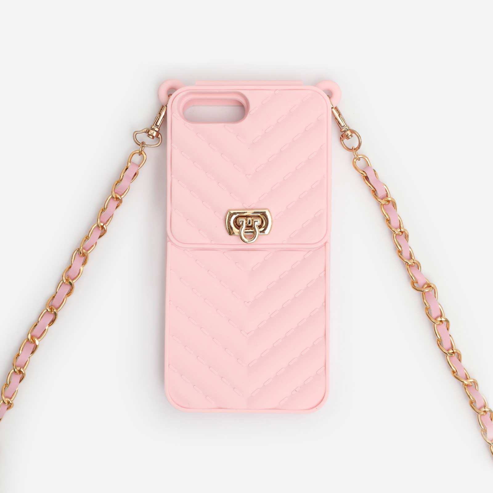 Buckle Detail Quilted Chain Phonecase In Pink. iPhone 7 Plus and 8 Plus