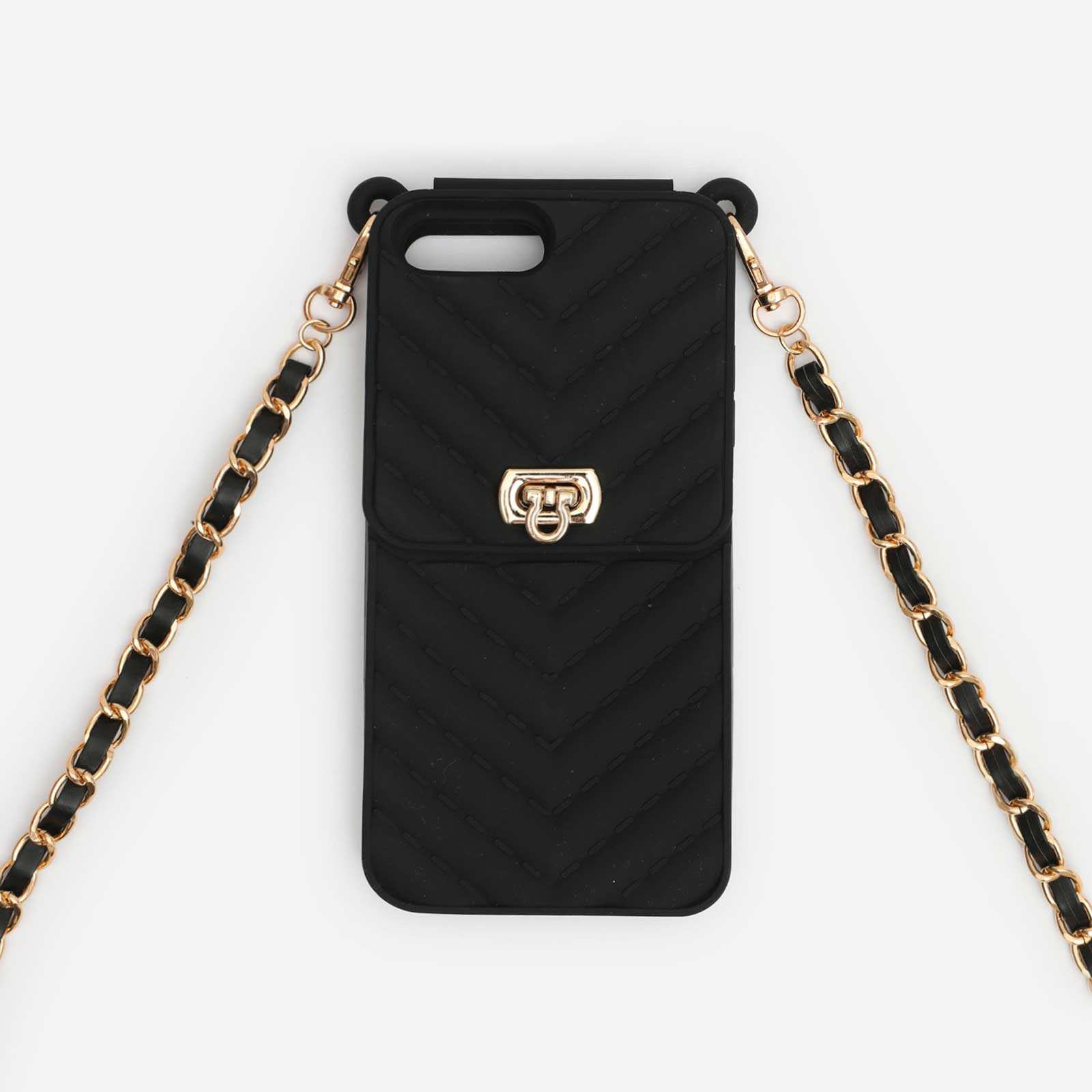 Buckle Detail Quilted Chain Phonecase In Black. iPhone 7 Plus and 8 Plus