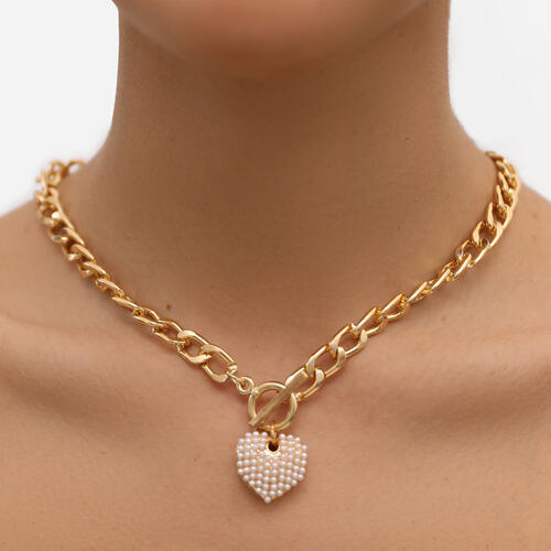 T Bar Heart Detail Chain Necklace In Gold