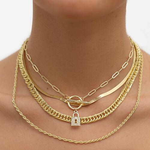 Padlock Detail Multi Chain Choker Necklace In Gold