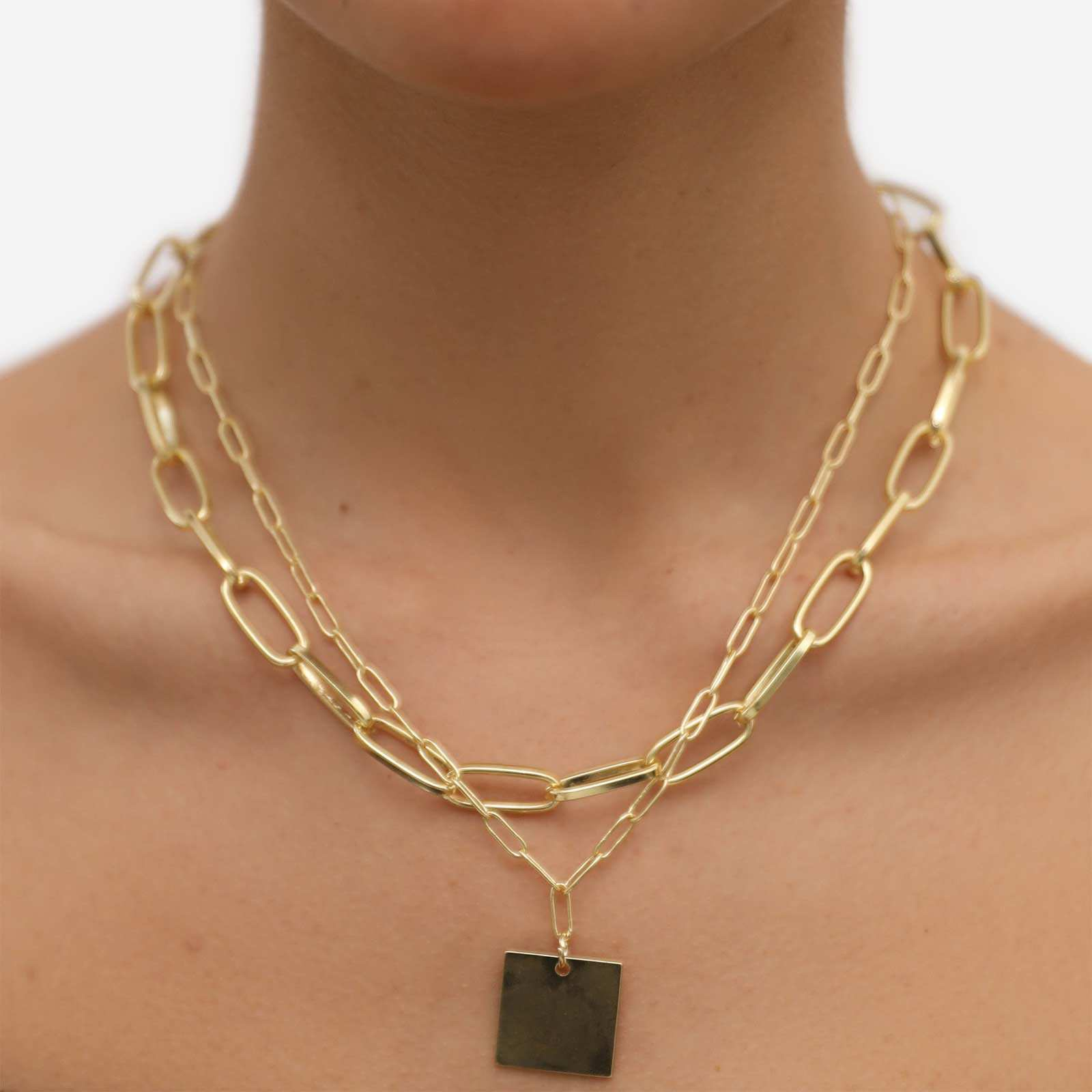 Square Tag Detail Multi Chain Necklace In Gold