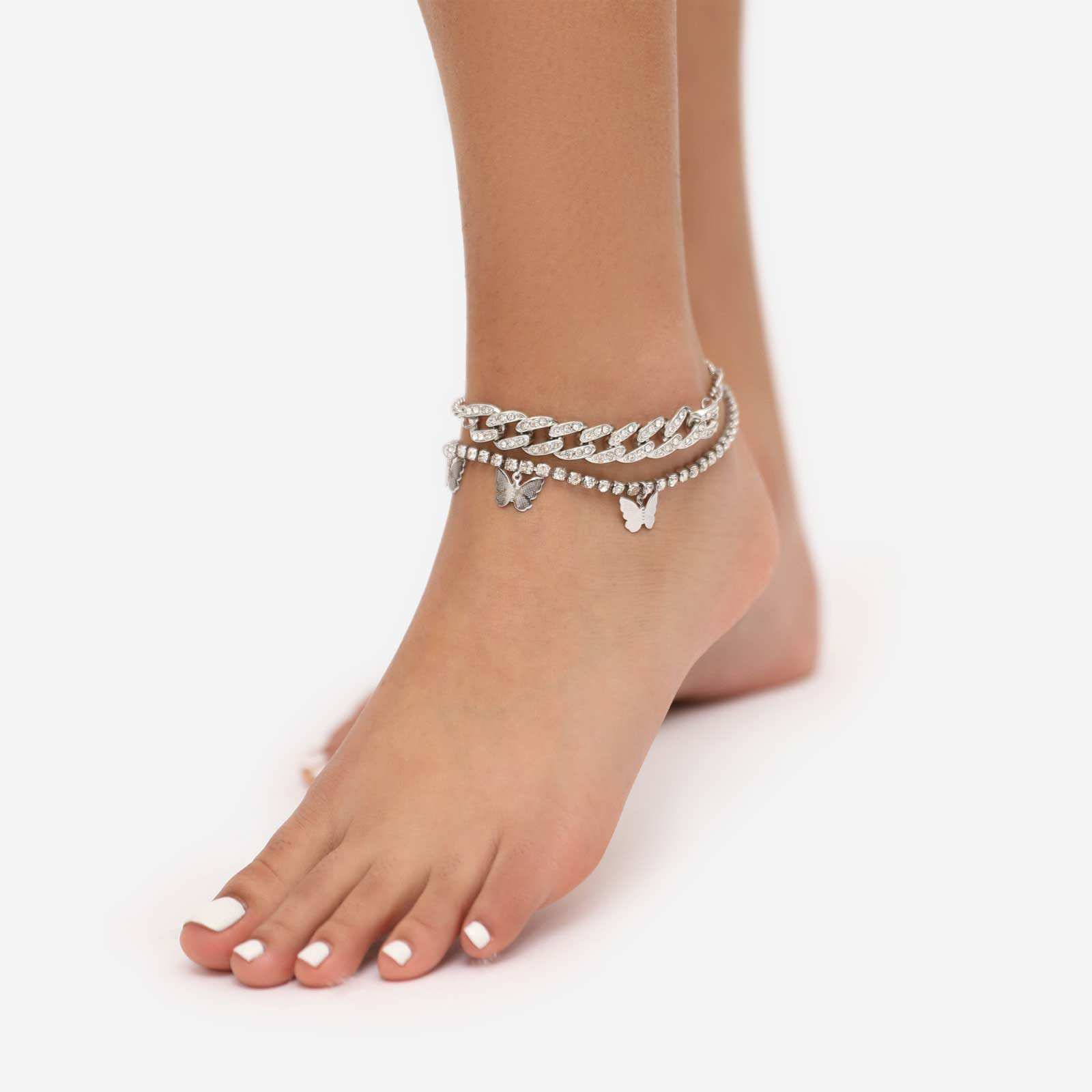 Butterfly Detail Diamante Multi Chain Anklet In Silver